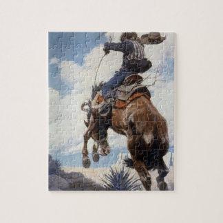 Vintage Western Cowboys, Bucking by NC Wyeth Jigsaw Puzzle