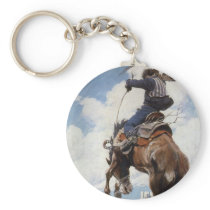 Vintage Western Cowboys, Bucking by NC Wyeth Keychain