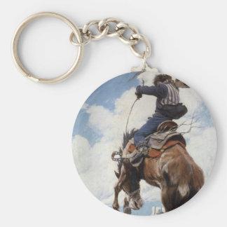 Vintage Western Cowboys, Bucking by NC Wyeth Keychain