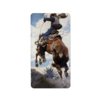 Vintage Western Cowboys, Bucking by NC Wyeth Label
