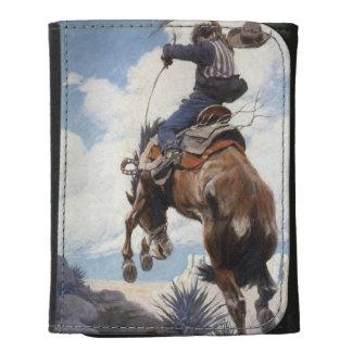 Vintage Western Cowboys, Bucking by NC Wyeth Leather Trifold Wallets