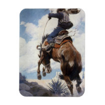 Vintage Western Cowboys, Bucking by NC Wyeth Magnet