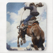 Vintage Western Cowboys, Bucking by NC Wyeth Mouse Pad