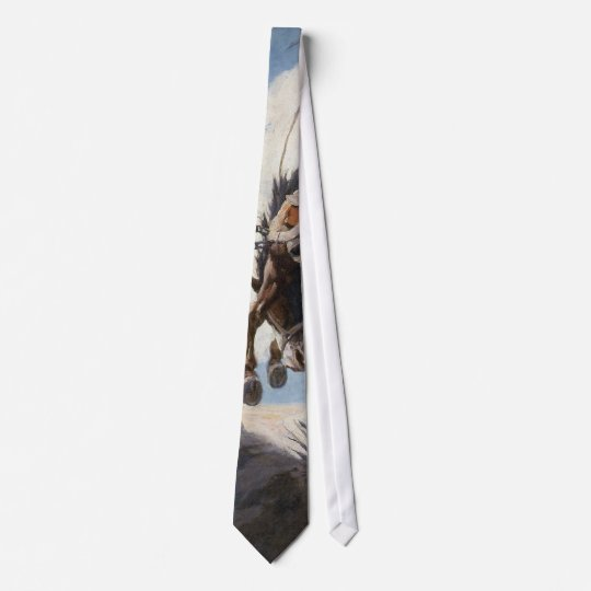 Vintage Western Cowboys, Bucking by NC Wyeth Neck Tie