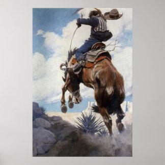Vintage Western Cowboys, Bucking by NC Wyeth Poster