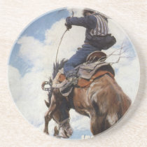 Vintage Western Cowboys, Bucking by NC Wyeth Sandstone Coaster