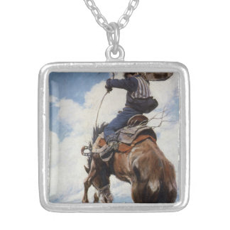 Vintage Western Cowboys, Bucking by NC Wyeth Silver Plated Necklace