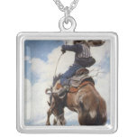 Vintage Western Cowboys, Bucking by NC Wyeth Square Pendant Necklace