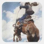 Vintage Western Cowboys, Bucking by NC Wyeth Square Sticker