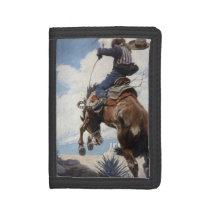 Vintage Western Cowboys, Bucking by NC Wyeth Trifold Wallet