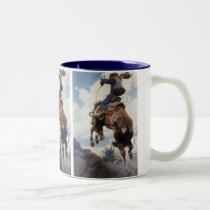 Vintage Western Cowboys, Bucking by NC Wyeth Two-Tone Coffee Mug