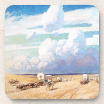 Vintage Western Cowboys, Covered Wagons by Wyeth Drink Coaster