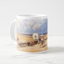 Vintage Western Cowboys, Covered Wagons by Wyeth Giant Coffee Mug
