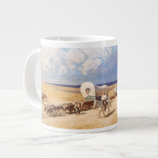 Vintage Western Cowboys, Covered Wagons by Wyeth Giant Coffee Mug
