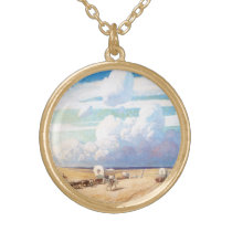 Vintage Western Cowboys, Covered Wagons by Wyeth Gold Plated Necklace