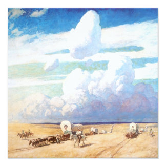 Vintage Western Cowboys, Covered Wagons by Wyeth Invitation