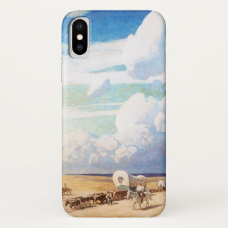 Vintage Western Cowboys, Covered Wagons by Wyeth iPhone X Case