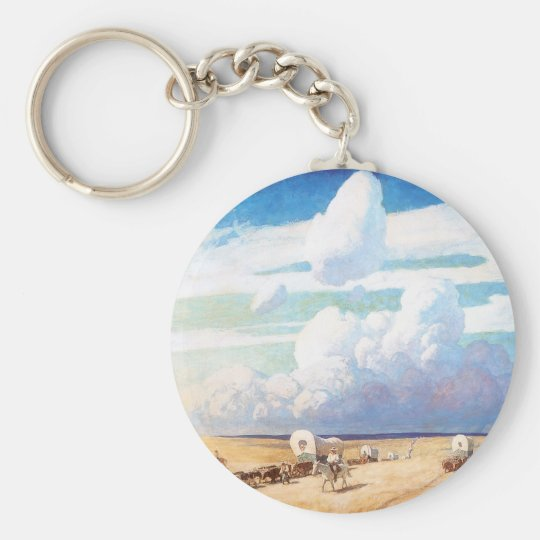 Vintage Western Cowboys, Covered Wagons by Wyeth Keychain