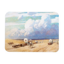Vintage Western Cowboys, Covered Wagons by Wyeth Magnet