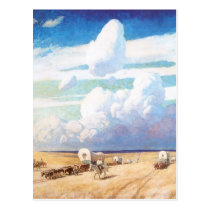 Vintage Western Cowboys, Covered Wagons by Wyeth Postcard