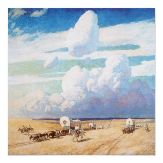 Vintage Western Cowboys, Covered Wagons by Wyeth Poster