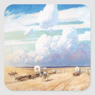 Vintage Western Cowboys, Covered Wagons by Wyeth Square Sticker