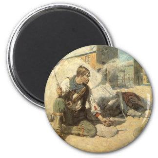 Vintage Western Cowboys, Hopalong by NC Wyeth 2 Inch Round Magnet