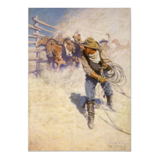 Vintage Western Cowboys, In the Corral by NC Wyeth 5x7 Paper Invitation Card