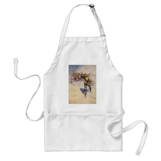 Vintage Western Cowboys, In the Corral by NC Wyeth Adult Apron