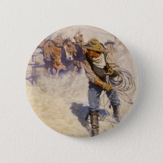 Vintage Western Cowboys, In the Corral by NC Wyeth Button