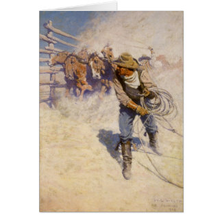 Vintage Western Cowboys, In the Corral by NC Wyeth Greeting Card