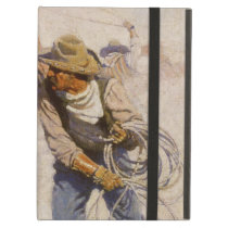 Vintage Western Cowboys, In the Corral by NC Wyeth Case For iPad Air