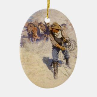 Vintage Western Cowboys, In the Corral by NC Wyeth Ceramic Ornament