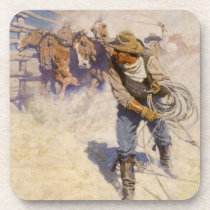 Vintage Western Cowboys, In the Corral by NC Wyeth Drink Coaster