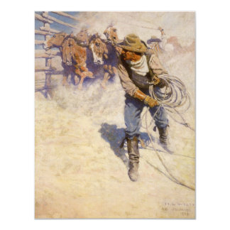 Vintage Western Cowboys, In the Corral by NC Wyeth 4.25x5.5 Paper Invitation Card