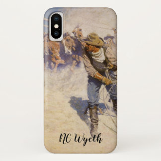 Vintage Western Cowboys, In the Corral by NC Wyeth iPhone X Case