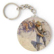 Vintage Western Cowboys, In the Corral by NC Wyeth Keychain