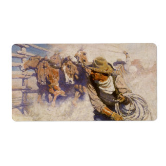 Vintage Western Cowboys, In the Corral by NC Wyeth Shipping Label