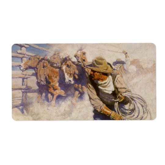 Vintage Western Cowboys, In the Corral by NC Wyeth Label