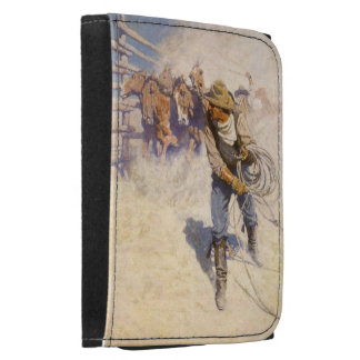 Vintage Western Cowboys, In the Corral by NC Wyeth Leather Wallet