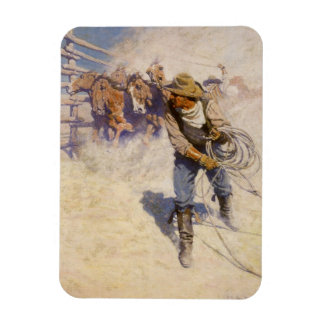 Vintage Western Cowboys, In the Corral by NC Wyeth Magnet