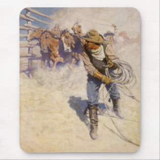 Vintage Western Cowboys, In the Corral by NC Wyeth Mouse Pad