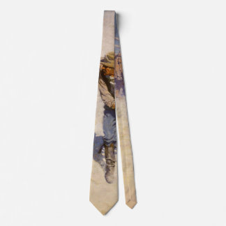 Vintage Western Cowboys, In the Corral by NC Wyeth Neck Tie