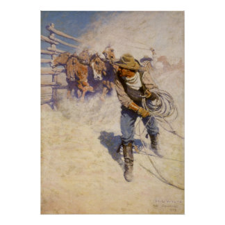 Vintage Western Cowboys, In the Corral by NC Wyeth Poster