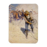 Vintage Western Cowboys, In the Corral by NC Wyeth Rectangular Photo Magnet