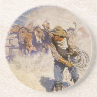 Vintage Western Cowboys, In the Corral by NC Wyeth Sandstone Coaster