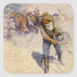 Vintage Western Cowboys, In the Corral by NC Wyeth Square Sticker
