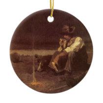 Vintage Western Cowboys, Plains Herder by NC Wyeth Ceramic Ornament