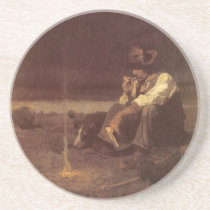 Vintage Western Cowboys, Plains Herder by NC Wyeth Sandstone Coaster