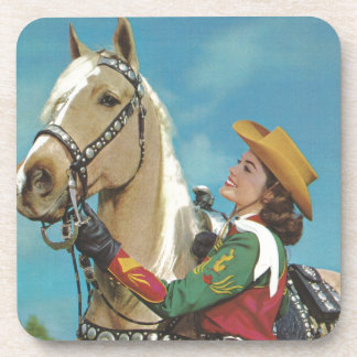 Vintage Western Cowgirl and Palomino Horse Beverage Coaster